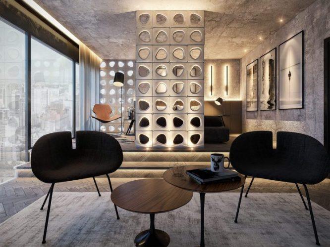 Sala minimalista nas cores em cinzas e preto com painel em cobogós