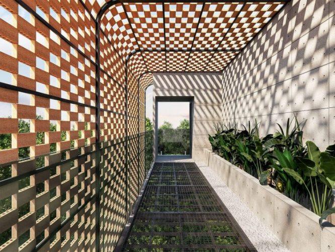 Túnel em teto e parede em cobogós no corredor do jardim