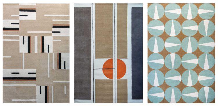 Coleção de tapetes inspirada na obra de Noel Marinho. Tres estampas com fundo bege e grafimos
