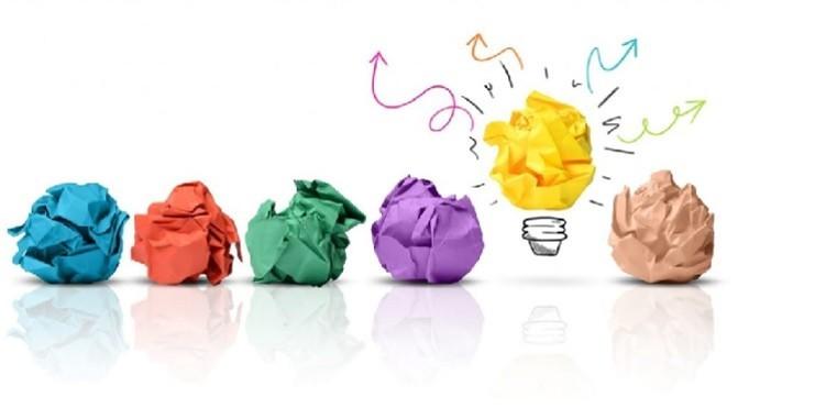 Guia para a criativiade. Ilustração com fohas de papel coloridas amassadas