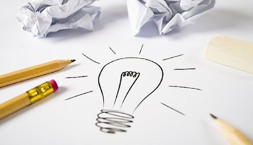 Guia para a criatividade. Ilsutração com uma lampada desenhada