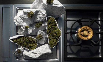 Ceramista assina ambientação de uma loja de equipamentos de luxo para cozinhas