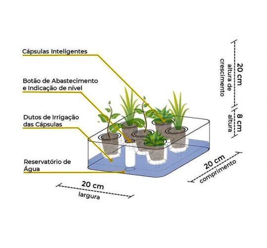 Primeira horta residencial inteligente do Brasil, Brota. Desenho com transparencia da caixa de horta mostrando os componentes