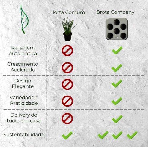 Primeira horta residencial inteligente do Brasil, Brota. Grafico das vantagens
