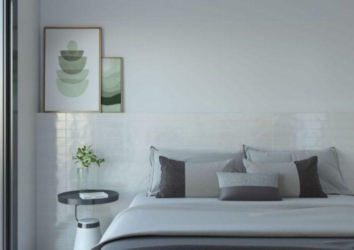 AZULEJO DE METRÔ: IDEIAS PARA SE INSPIRAR, no quarto, atras da cama fazendo a cabeira. Tijolhinos na cor branca