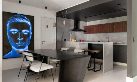 Apartamento com décor minimalista e brutalista