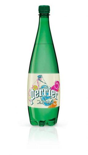 Andy Wharol assina a embalagem da agua mineral frencesa Perrier comemorando os 150 anos da marca
