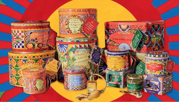 Latas de panetone Dolce&Gabbana, coloridas