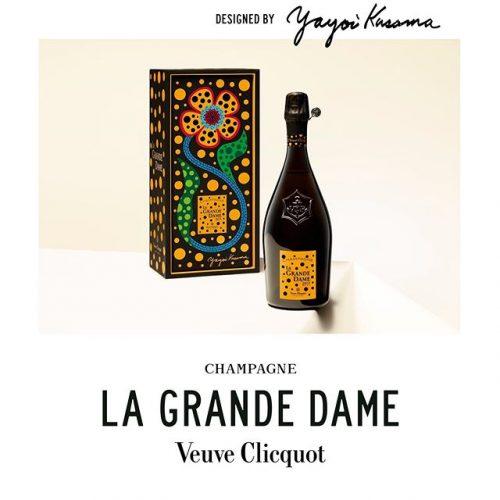 collabs .Yayoi Kusama ilustra a garrafa da champagne para celebrar o novo vintage da Maison Veuve Clicquot.