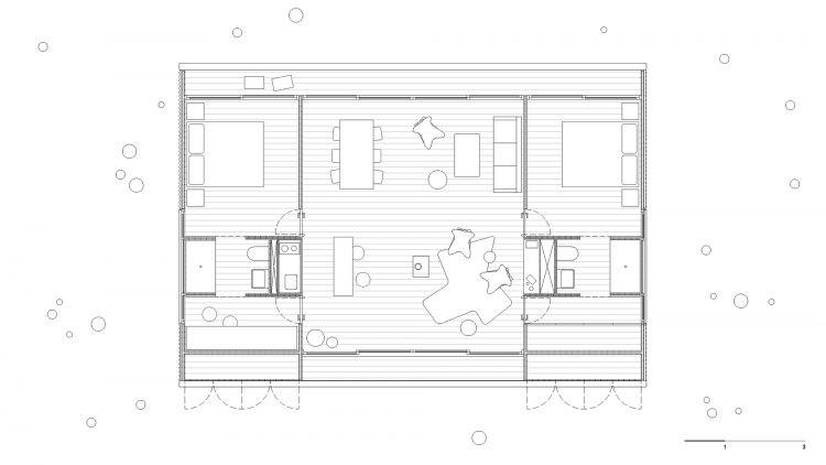 Casas Modulares, sistemas pré-fabricados . Planta baixa com 3 compartimentos, sendo o do meio maior