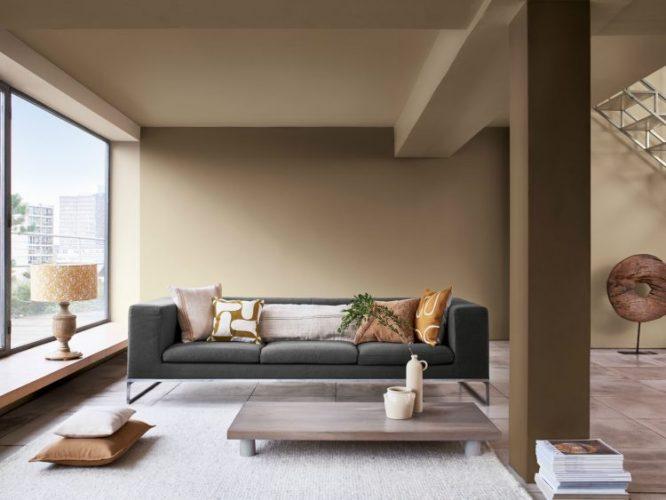 Pedra Esculpida é a Cor do Ano da Coral para 2021. Um tom de bege escuro na parede atras do sofá cinza.