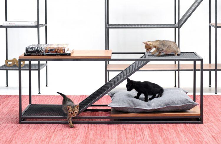 Mesa de centro desenhada para pets, em aço e madeira. Um mini escorrega entre um tapo de outro