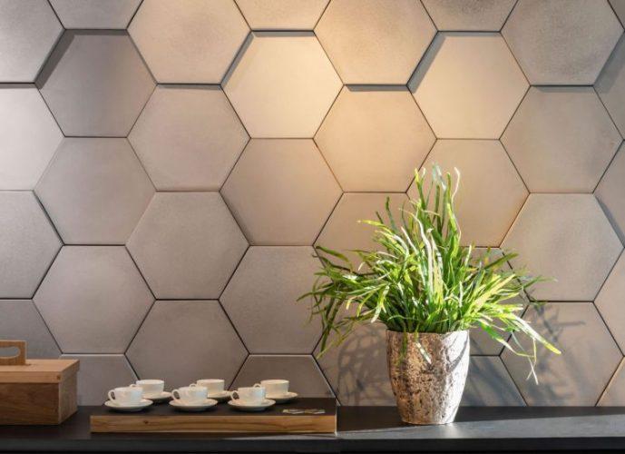paredes geometricas, revestimento na forma hexágono em cimento