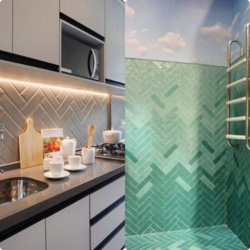 em cima da bancada de cozinhe e dentro de uma piscina, revestiemnto instalado na paginação espinha de peixe , na diagonal
