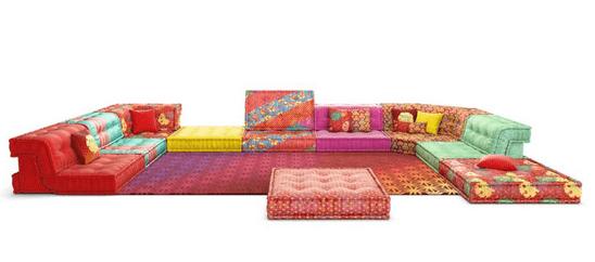 Composição sofá MAH JONG, criação das estampas por Kenzo Takada para a marca francesa Roche Bobois. esse ano de 2020 para a Maison Objet