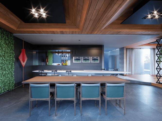 Imagem em render de uma sala de jantar com cadeiras antigas azuis, teto ripado em madeira