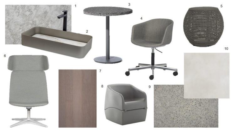 Varios produtos em fotos montando um quadrado. Cadeiras, cubas e bancos na cor cinza.