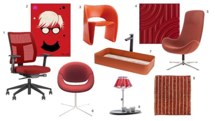 Foto montagem com cadeiras e revestimento na cor vermelha