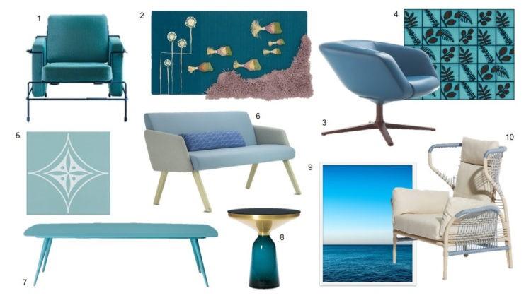 Quadro montagem com fotos de mesas, cadeiras, quadros em tons de azul.