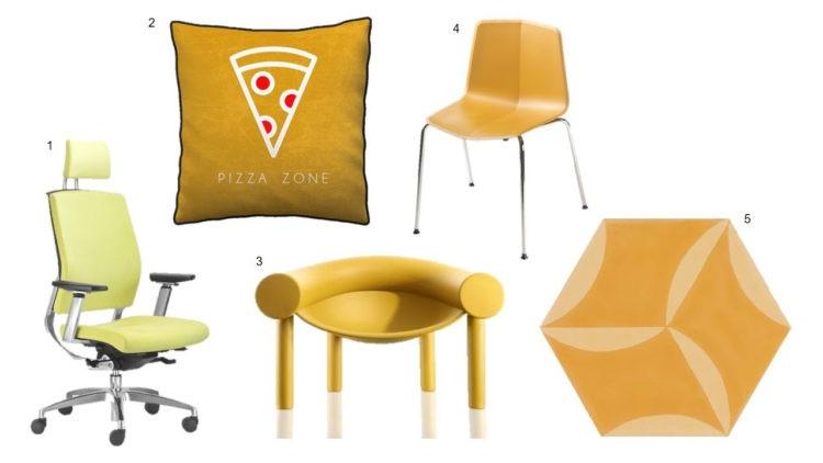 Cadeiras, almofada e mesa na cor amarelo