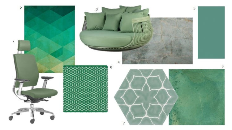 Fotos de poltrona, cadeira, tapetes e revestimentos na cor verde