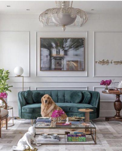 Sala com sofá verde, boiserie na parede atras e um cachorro em frente ao sofá.