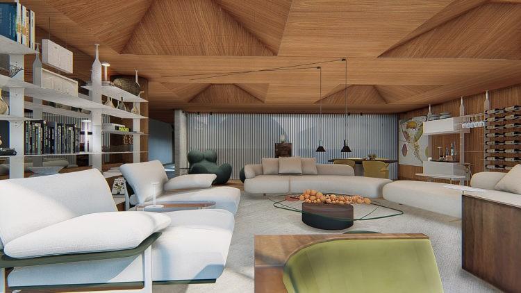Mostra de decoração virtual, iamgem em render de uma sala com teto todo ripado de madeira formando casulos , tapete branco e sofás brancos