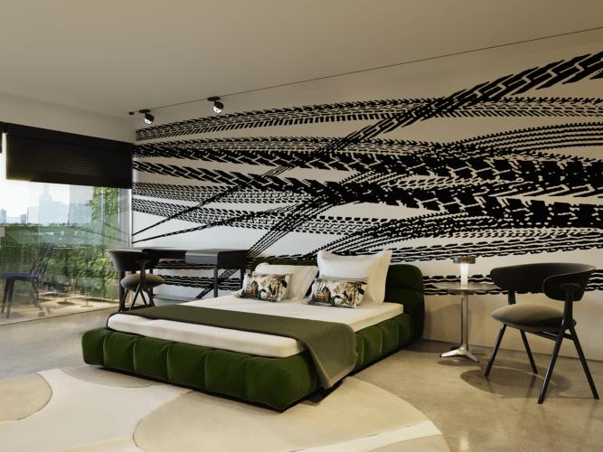 Imagem em render de um quarto que tem na parede de fundo da cama, um papel de parede com marcas de pneus derrapando