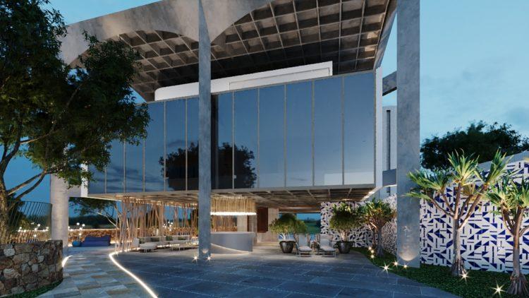 Imagem em render da casa em BH, arquitetura Brutalista. Com painel de azulejos na fachada