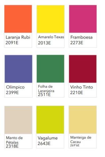 Paleta de 9 cores , quadradinhos coloridos com os nomes das cores.