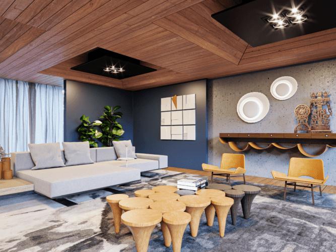Imagem em render da uma sala com teto ripado de madeira e triangulos pretos com spots.