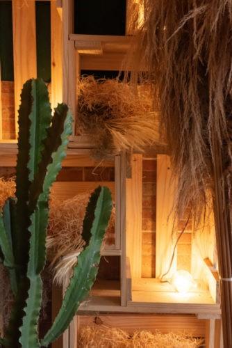 Hamburgueria decorada em clima Texano. Cactos e caixotes enfeitam a entrada