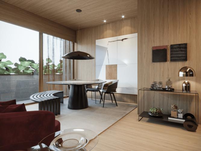 Mostra de decoração virtual, imagem em render de uma sla com teto, paredes e piso em madeira. Mesa redonda e um banco em volta