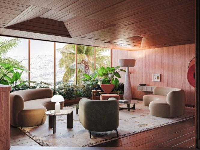 MOSTRA MODERNOS ETERNOS: CASAMENTO PERFEITO ENTRE PASSADO E PRESENTE. imagem de render de uma sala com teto com ripa de madeiras e dois sofás curvos com janelas grandes