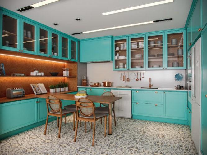 Imgem em render de uma cozinha com armarios turquesa, uma mesa em madeira no meio da cozinha