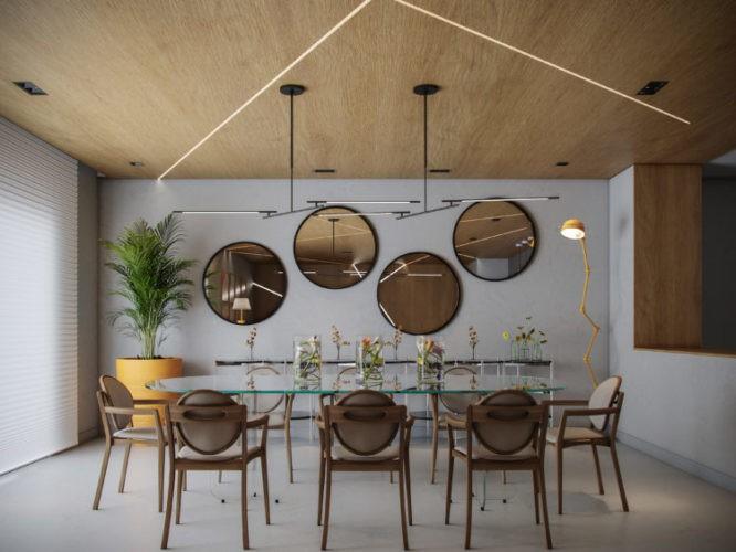 Imagem em render de uma sala de jantar. Teto forrado de madeira, mesa com tampo de vidro, cadeiras em mdeira e espelhos redondos na parede de fundo
