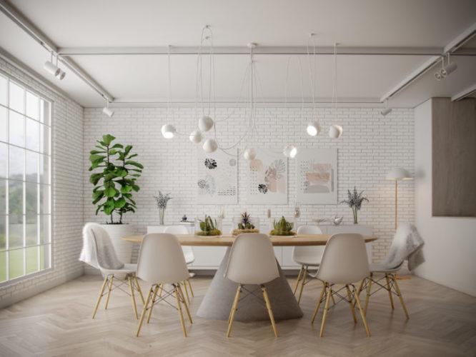 APLICATIVO QUE ESPECIFICA PROJETOS E ADMINISTRA OBRAS. Imagem em render de uma sala de jantar estilo escandinavo. Tijolinhos brancos na aprede, mesa em tampo de madeira clara e cadeiras brancas
