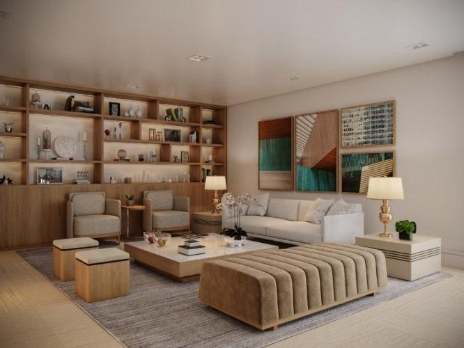 APLICATIVO QUE ESPECIFICA PROJETOS E ADMINISTRA OBRAS, ambiente em render. Sala em tons de bege, estante em madeira , sofá bege