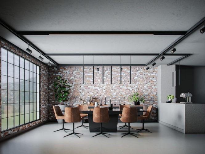 Imagem em render de uma sala de jantar estilo industrial, parede de tijolinho, mesa prat e cadeiras de couro marrom.