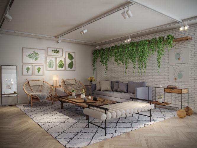 Imagem em render de uma sala. Trilhos de sopt no teto, parede de tijolinho branco, composição de quadros de folhas.