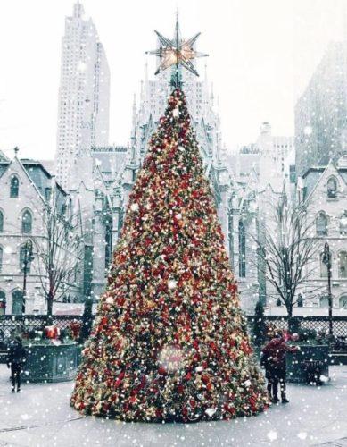 Árvore de Natal do Hotel Lotte New York Palace, em NY. Do lado de fora do hotel, nevando .