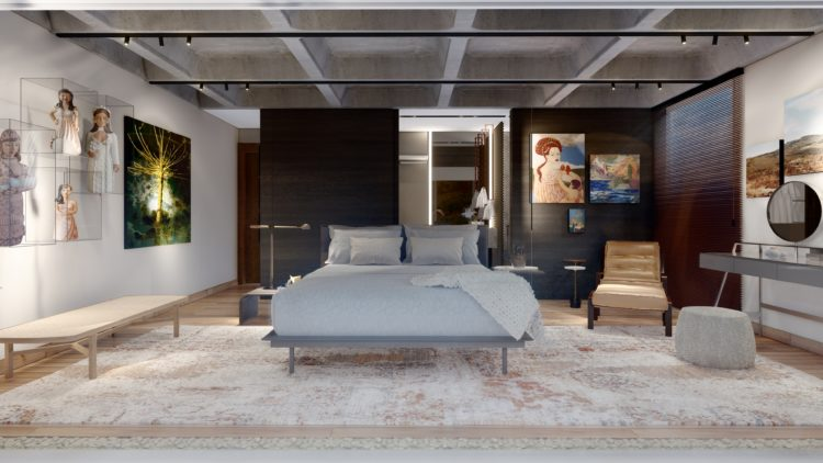 Imagem em render de uma quarto, na casa brutalista, teto em concreto com colmeias. Cama no centro em paineis em madeira ao lado