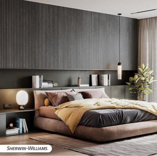 As cores de 2021 eleitas pelas Tintas Sherwin-Williams, combinado com rosa . Uma quarto com a base da cama rosa em tecido