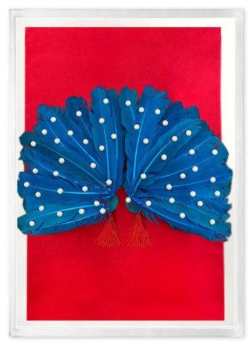 caixa de acrilico com fundo vermelho, dentro um leque revestido com penas azuis e perolas aplicadas