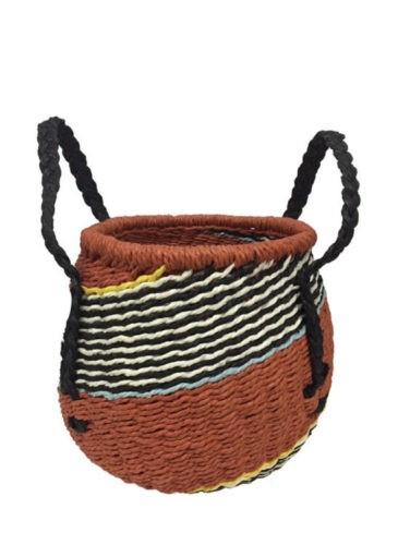Cesto de junco colorido, com alças pretas