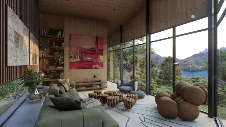 Casa na Toca - mostra virtual a partir de uma casa real na Patagônia Chilena. Imagem em render de uma sala com janelas de piso ao teto e vista para o lago chileno.