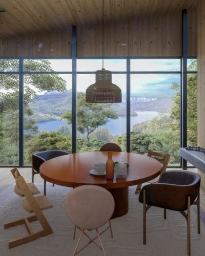 Imagem 3d de uma sala de jantar com mesa marrom redonda, janelas do piso aoteto com uma vista para montanhas e um lago