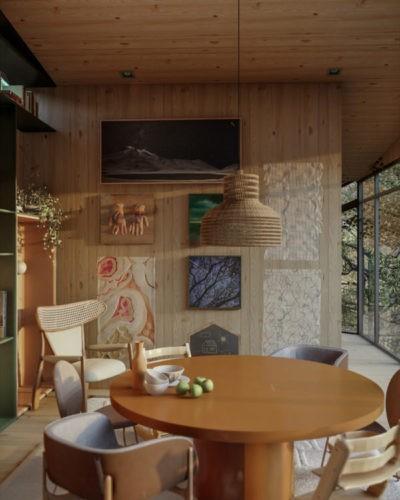 Imagem em 3d de uma sala de jantar com mesa redonda marrom, uma luminaria pendente em vime