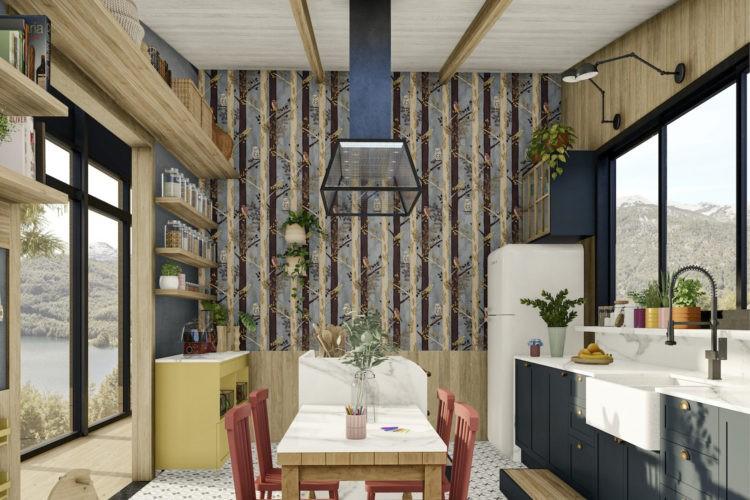 Imagem em 3d de uma cozinha, ao fundo um painel com bambus, no centro uma ilha e emsa acoplada