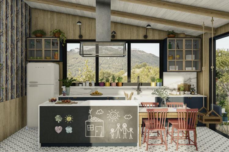 Imagem em 3d de uma cozinha, com ilha forrda na frente com lousa preta para as crianças desenharem